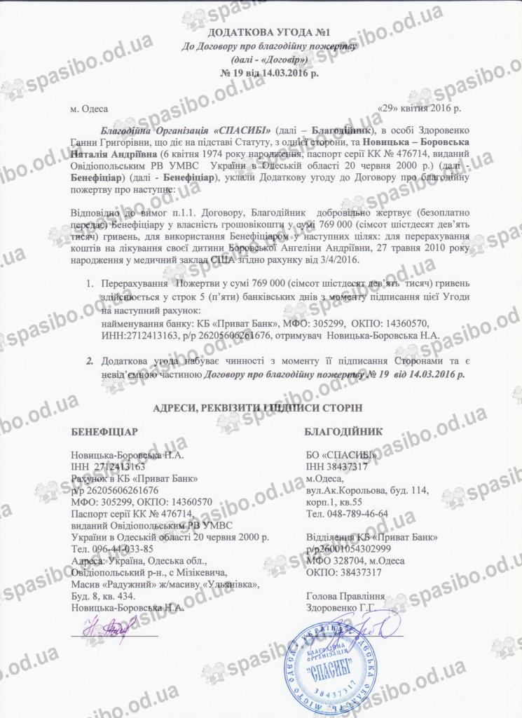 Додаткова угода №1 від 29.04.2016