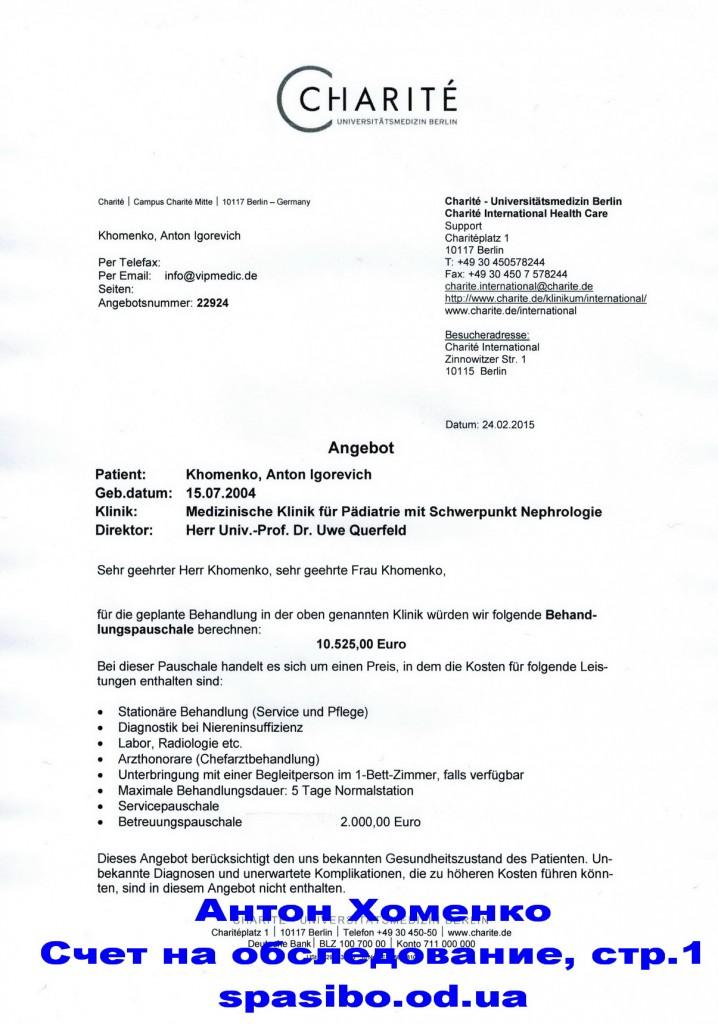 Счет из Германии на немецк. СТР.1