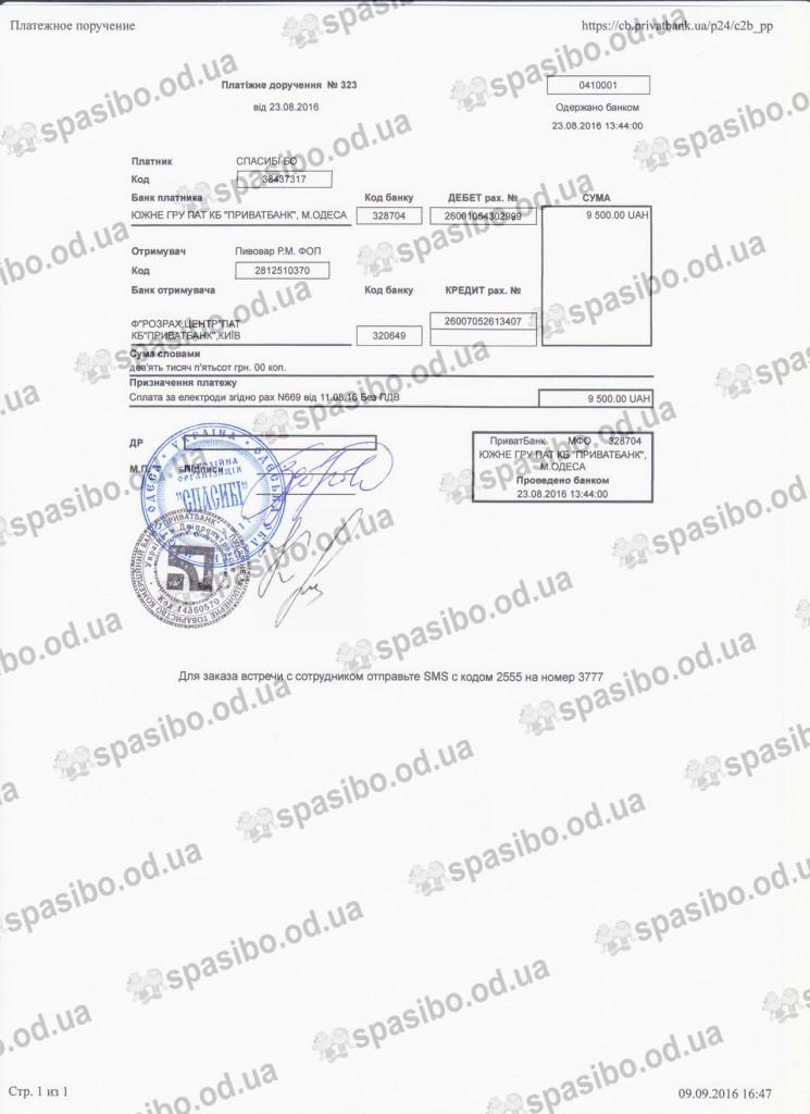 Платіжне доручення 9500 грн