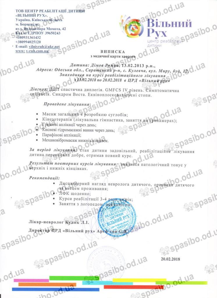 Віписка Димов Р. 4ая реабилитация