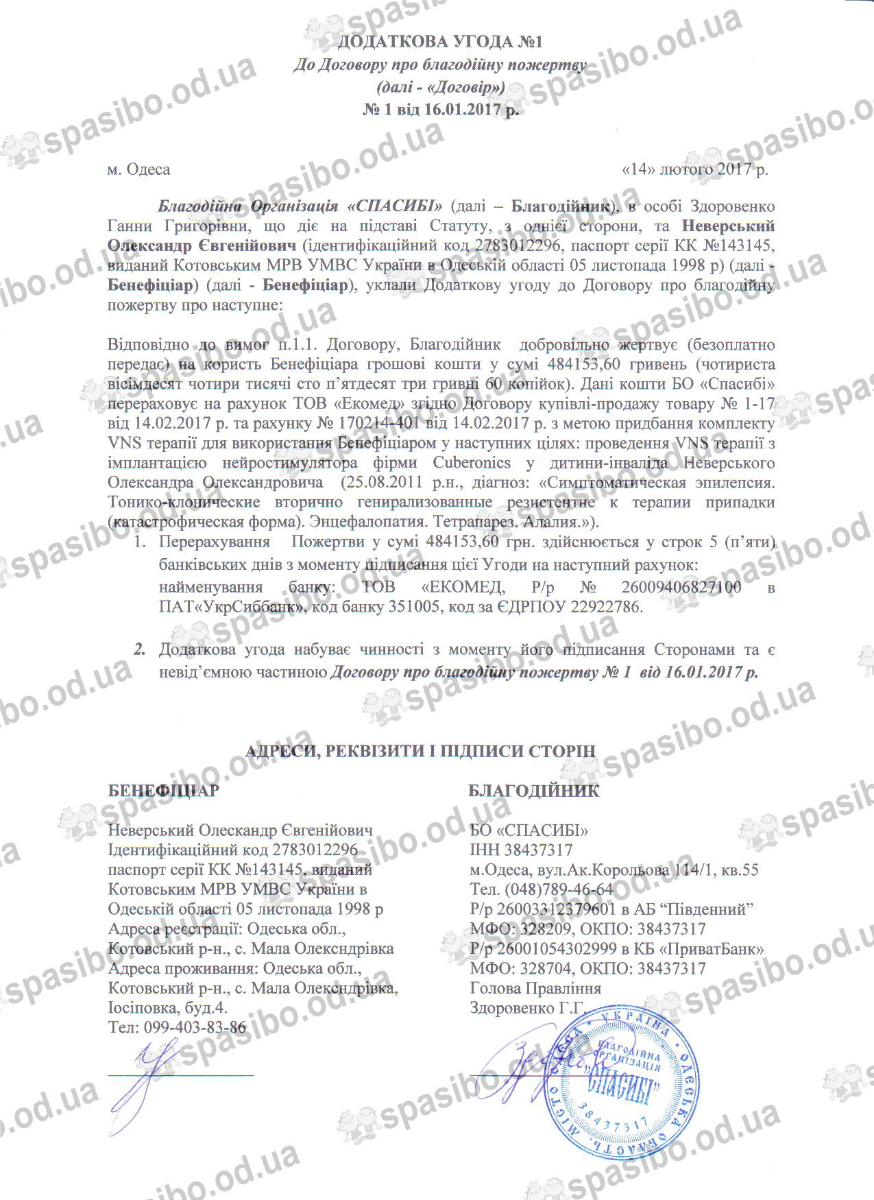 Додаткова угода №1 від 14.02.2017