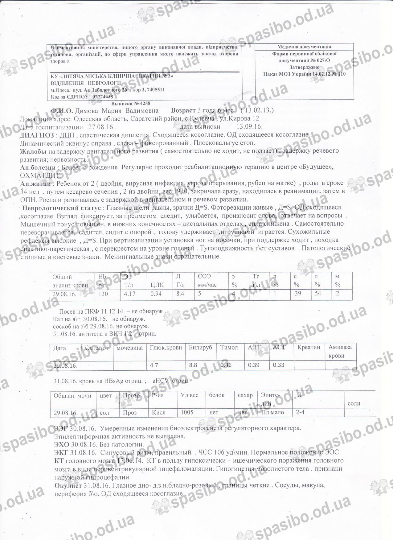 Маша. стр1.Выписка и одесск.неврологии от 13.09.2016