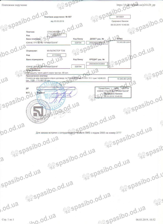 Платіжне доручення № 607 від 03.03.2019