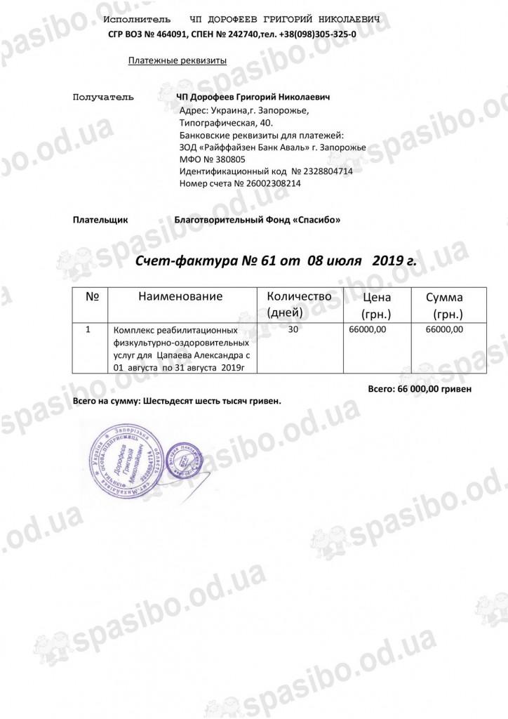 Счет №61-Цапаев
